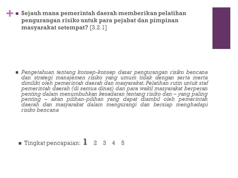 Sejauh mana pemerintah daerah memberikan pelatihan pengurangan risiko untuk para pejabat dan pimpinan masyarakat setempat [3.2.1]